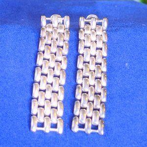 Silver Mesh Link Chain Mail Earring Pierced Dangle